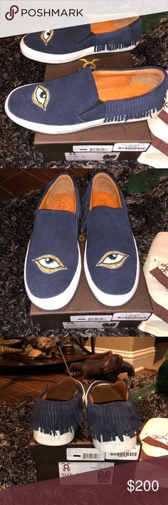 """BrandNew Figue Karita Suede Fringe Slip-on Sneaker BrandNew Figue Karita Suede Fringe Slip-on Sneaker  color:midnight navy (dark navy)  ***SIZING PLEASE READ!!!-  box says - """"size 8 / EU: 38.5""""  shoe says """"size 8/ 39"""" ***I'm usually a 7.5-8 therefore these would more so fit a size 8.0-8.5 (maybe 9 if no sock worn)***  """"NWT"""" - comes with box and dust bag and tags that came in box.  reason for selling - too big. sign of wear barely on bottom from trying them on and walking around house for a…"""