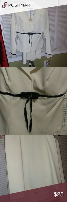 Cream skirt suit with black bow/ribbon detail Adorable cream suit with black ribbon bow detail along waist. Ruffle sleeves and ribbon detail on sleeves. Size juniors 3/4. Great for pageant interviews, guest appearances, church, etc. B. Darling  Skirts Skirt Sets