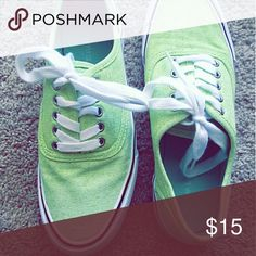 Light Green Canvas Shoes Very cute to wear with cropped or skinny jeans! This light green color is perfect for the summer. Shoes have only been worn a couple times and look brand new still. Mossimo Supply Co Shoes