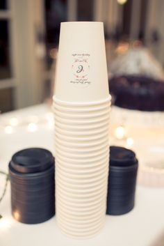 Great idea for a to-go coffee station with customized cups!