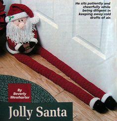 """36"""" Jolly Santa Door Draft Stopper ~ CROCHET PATTERN ONLY ~ Christmas Decor   eBay Crochet Santa, Holiday Crochet, Christmas Knitting, Door Draught Stopper, Draft Stopper, Door Stopper, Crochet Projects, Sewing Projects, Christmas Door"""