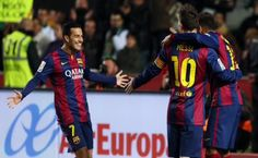 Picture: Pedro celebrating his goal against Elche with Neymar, who gave the assist, and Messi Fc Barcelona, Messi 2015, One Team, Psg, Neymar, Manchester United, Real Madrid, Motorcycle Jacket, Photo Galleries