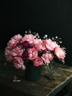 bohemian pink flower arrangement