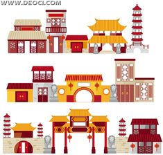Flat Cartoon Chinese traditional architectural EPS downloads