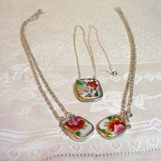 Mommy and Me Porcelain Cherry Blossom Pendant Silver Necklace 3pc Set | Alisuns - Jewelry on ArtFire