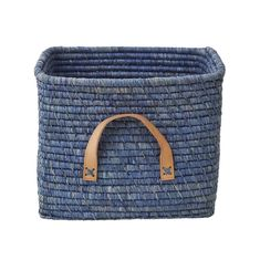 Rice DK Blue square woven raffia storage basket with tan leather handles.