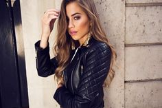 Leather jacket and earrings from Ivyrevel | Kenza Zouiten