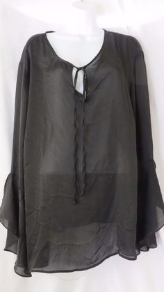 Ashley Stewart Size 24 See Though Blouse Black Made U.S.A 100% Polyester #AshleyStewart #Blouse #EveningOccasion