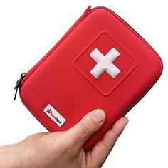 Complete Mini First Aid Kit **35 Unique Items / 100 Pieces** Best Content in Red Hard Case - Perfect for Car | Outdoor | Scouting | Travel | Medical Use - GREAT GIFT - Ideal for Injuries & Emergency