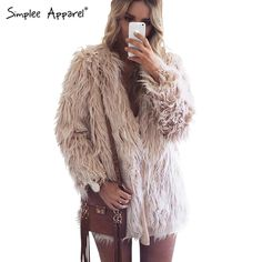 Simplee Одежда Элегантный искусственного меха пальто женщин Пушистый теплый женский верхняя одежда Черный chic осень зима куртки пальто волосатые пальтокупить в магазине Simplee ApparelнаAliExpress