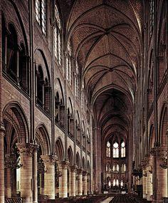 Nave and choir, Notre-Dame. Paris. 1163-1250 #architecture #notredame