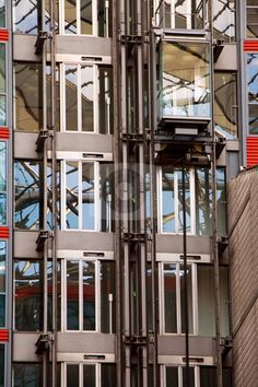 Glass elevator on building