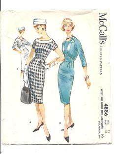 1950s WIGGLE Dress Pattern ~ EVENING or Day DRESS Vintage Sewing Pattern Pencil Slim Skirt Dress Bolero Jacket McCall's 4886 Size 12 Bust 32...