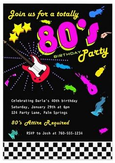 Printable Birthday Invitation Totally 80 S Party By Inkddesigns