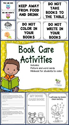 Teach your students how to take care of their books with these activities.  Includes sorting cards (pictures and words) and a minibook for students to color.