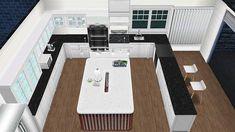 Cool kitchen island idea Casas The Sims Freeplay, Sims Freeplay Houses, Sims Free Play, Sims House Plans, Sims House Design, Sims 3, Cool Kitchens, Home Furniture, Interior Decorating