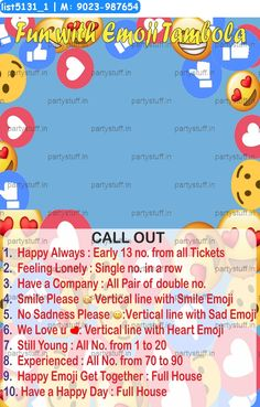 Emoji duet classic grids dividends #Emoji theme #DuetKukuba #TambolaHousie #KittyParty by PartyStuff.in Kitty Party Games, Birthday Party Games, Cat Party, Tambola Game, Emoji, Grid, Birthdays, Classic, Ideas