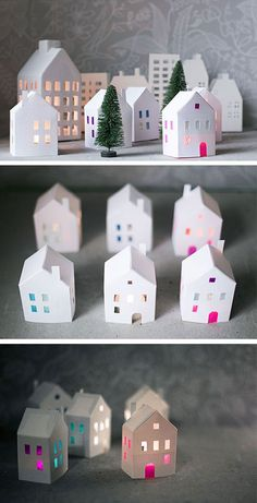 Tea Light Paper Houses | Click for 25 DIY White Christmas Decorations Ideas | White Christmas Decorating Ideas for the Home
