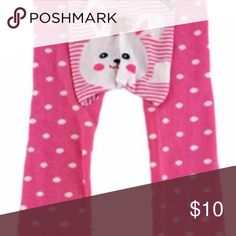 Pink and white baby tights New Baby tights in bright pink and white stripes and dots and white bunny on seat. Green ruffle on hem. Very cute! Bottoms Leggings