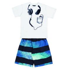 "Conj. Camiseta ½ Malha-Bermuda Sintética Estampada Estampa ""ipod"" Tamanhos: 04 ao 16"