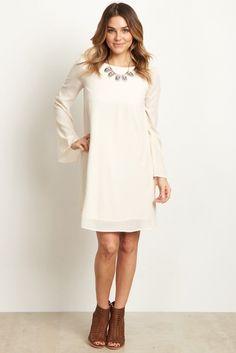 Ivory Chiffon Bell Sleeve Dress
