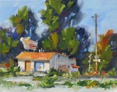 AMERICANA, NOSTALGIA, RETRO 50S ABANDONED MOTEL, TOM BROWN ORIGINAL OIL PAINTING, painting by artist Tom Brown