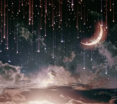 ☄ Star Wallpaper, Moon And Stars Wallpaper, Wallpaper Ideas, Wallpaper Backgrounds, Iphone Wallpaper, Falling Stars, Stars And Moon, Night Sky Stars, Good Night Moon