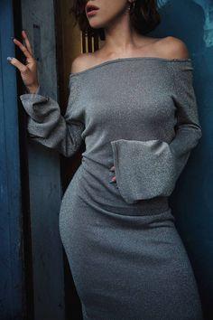 Grey Jersey Off Shoulder Maxi Dress by Karla's Closet