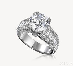 Exquisite Cathedral Ring Setting with Baguette & Pave Diamond Band Wedding Rings Solitaire, Beautiful Engagement Rings, Gemstone Engagement Rings, Vintage Engagement Rings, Beautiful Rings, Vintage Rings, Engagement Ring Buying Guide, Engagement Ring Styles, Diamond Ring Settings