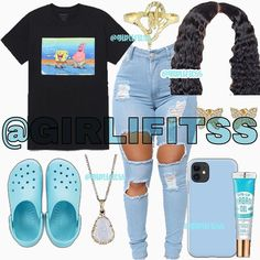 Baddie Outfits Casual, Baddie Outfits For School, Swag Outfits For Girls, Cute Lazy Outfits, Cute Swag Outfits, Teenage Girl Outfits, Teen Fashion Outfits, Retro Outfits, Cute Teen Outfits
