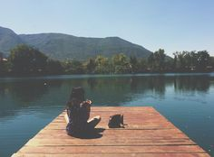 wood, dock, lake, water, girl, woman, people, sunshine, summer, mountains, trees