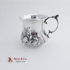 Ornate Repousse Cup Art Nouveau Iris Decoration International Silver Co 1910 Iris, Art Nouveau, Cup Art, Natural Forms, Decoration, Antique Silver, Sterling Silver, Antiques, Script