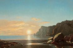 Artwork by William Bradford, View of Northern Head at Sunrise in the Bay of Fundy, Made of Oil on canvas