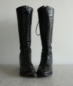 Victorian Black Leather Boots Knee High
