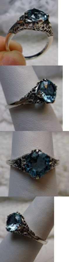 Rings 52603: 2Ct Victorian *Aquamarine* Sterling Silver Filigree Ring Size: {Made To Order} BUY IT NOW ONLY: $34.0