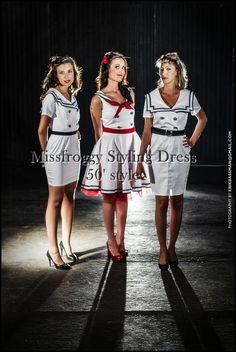 sailor marinara fifties dress 50' s style edition tailored garment unique dresses vintage tailoring #white #marinara #50's #vintage #sewing #yourstylist #fashion #modellist