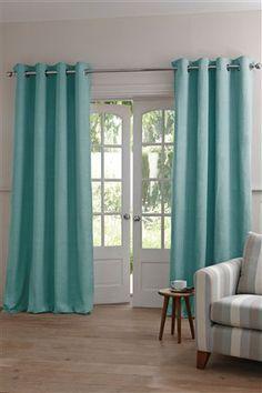 Teal Pin Rib Texture Eyelet Curtain £40 - £110