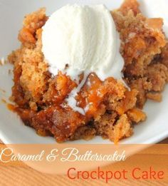 Caramel Butterscotch Slow Cooker Cake - Yum! A cake mix recipe so easy, you'll melt