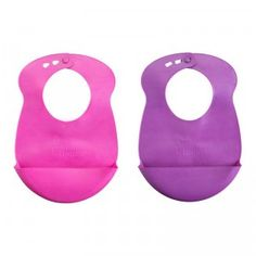 A two-pack of BPA-free bibs featuring a pocket that acts as a crumb catcher for food and drinks to fall into while babies eat.