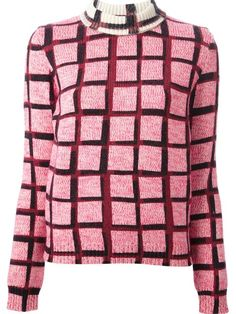 KENZO tartan print sweater -    Pink wool-cashmere blend tartan print sweater from Kenzo featuring a ribbed roll neck, long sleeves and a straight hem.
