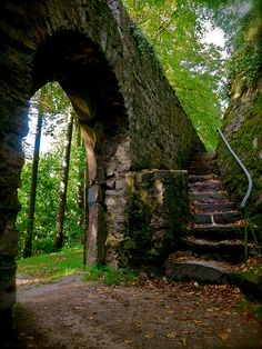 Burg Lindenfels by Resident on Earth on Flickr. steps stairs forest woods arch stone