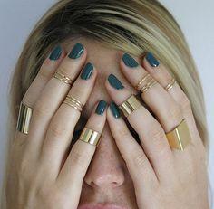 Set anelli set di anelli 7 knuckle oro oro tube bande di TopStar