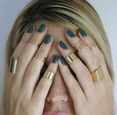 set of 7 gold knuckle rings gold tube ring gold thin by TopStar