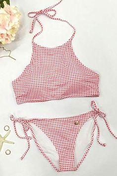 #AdoreWe #CupShe bikini❤️2017 Summer CupShe Swimsuits - Reseau Print Halter Bikini Sets - AdoreWe.com #halterbikini