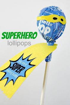 Kids will love these superhero lollipops! Simply decorate a #Tootsie Pop with a cape and mask. Can you saw sweet?!