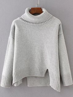 To find out about the Grey Ribbed Trim Turtleneck Asymmetrical Sweater at SHEIN, part of our latest Sweaters ready to shop online today! Cable Sweater, Grey Sweater, Cozy Sweaters, Sweaters For Women, Pull Gris, Asymmetrical Sweater, Budget Fashion, Knitting Designs, Pulls