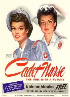 World War II Patriotic Posters USA Military Recruiting America-Cadet Nurse Nursing Recruitment, Military Recruiting, Military Salute, Military Humor, Military Art, Military History, Patriotic Posters, Patriotic Pictures, Ww2 Posters