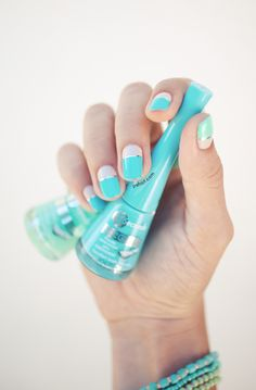 White + Teal Color Block Nails