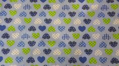 LOVE HEARTS Spots and Gingham children kiddies Blue poly cotton crafts table bunting dress Fabric fat quarter bundle - fabrics by the Metre