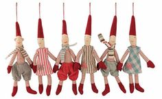 Danish Christmas Micro Pixie Hanging Ornaments - Set of 6